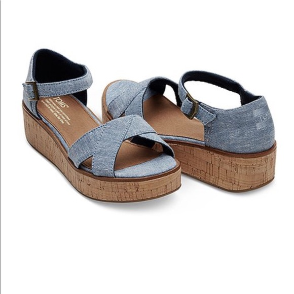 6d56b34fa2a TOMS Blue Slub Chambray Harper Wedge Sandal. M 5b269f357386bca1fd3cd6ee.  Other Shoes ...